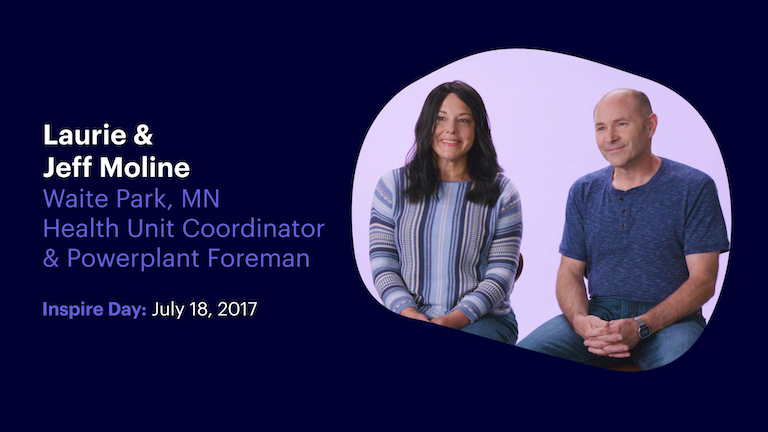 Health Unit Coordinator and Powerplant Foreman Laurie and Jeff Moline of Waite Park Minnesota